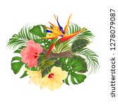 bouquet with tropical flowers ... | Shutterstock .eps vector #1278079087