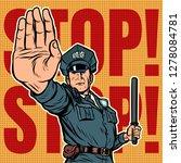 police officer stop gesture.... | Shutterstock .eps vector #1278084781