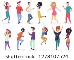diverse tiny people dancing and ... | Shutterstock .eps vector #1278107524