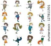 cute girls and boys set | Shutterstock .eps vector #127811501