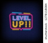 level up neon text vector with... | Shutterstock .eps vector #1278118084