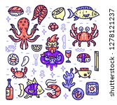 seafood cliparts. underwater... | Shutterstock .eps vector #1278121237
