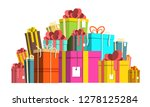 gift box pile. colorful paper... | Shutterstock .eps vector #1278125284