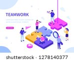 teamwork concept with puzzle....   Shutterstock .eps vector #1278140377