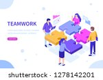 teamwork concept with puzzle.... | Shutterstock .eps vector #1278142201