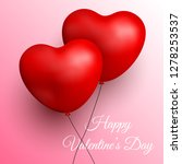 two red balloons for valentines ... | Shutterstock .eps vector #1278253537