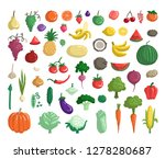 vector set with fruits ... | Shutterstock .eps vector #1278280687