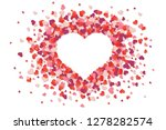 Stock vector heart love red and pink confetti splash frame of scatter confetti in shape of heart valentine s 1278282574