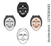 hahoe mask icon in cartoon...   Shutterstock .eps vector #1278283681