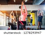 beautiful blond female gym... | Shutterstock . vector #1278293947