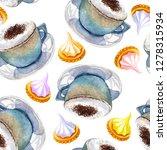 watercolor coffee macchiato cup ...   Shutterstock . vector #1278315934