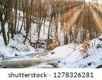 flowing stream in winter forest ... | Shutterstock . vector #1278326281