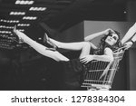 sensual woman sit in shopping... | Shutterstock . vector #1278384304