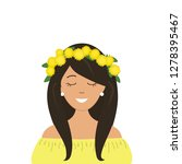 cute girl in a wreath of... | Shutterstock .eps vector #1278395467