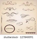 vector set  calligraphic design ...   Shutterstock .eps vector #127840091