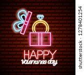 valentine day neon | Shutterstock .eps vector #1278401254