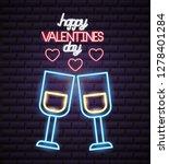 valentine day neon | Shutterstock .eps vector #1278401284