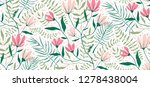 flowers and leaves exotic... | Shutterstock .eps vector #1278438004