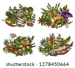 spices  vegetable seasonings ... | Shutterstock .eps vector #1278450664