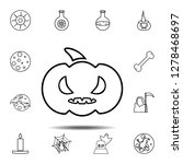 evil pumpkin icon. simple...