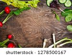 spring vegetables on wooden... | Shutterstock . vector #1278500167