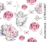 hand drawn watercolor pattern...   Shutterstock . vector #1278512887