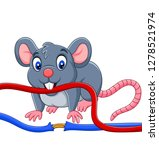 cartoon mouse biting the cable | Shutterstock .eps vector #1278521974