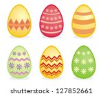 colorful easter eggs isolated... | Shutterstock .eps vector #127852661