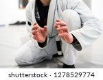 Small photo of Brazilian Jiu JItsu BJJ WHite Belt Fighter In A Fighting stance