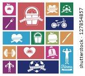 illustration of fitness icons ... | Shutterstock .eps vector #127854857