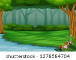 view of the beautiful park by... | Shutterstock .eps vector #1278584704