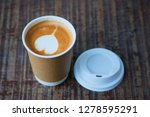 cup of coffee latte on wood... | Shutterstock . vector #1278595291