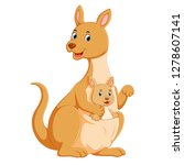 the cute kangaroo playing with... | Shutterstock . vector #1278607141