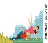 mother and daughter doing yoga... | Shutterstock .eps vector #1278641104