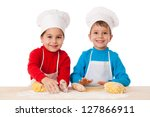 two kids kneading the dough... | Shutterstock . vector #127866911