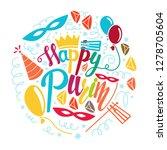 purim greeting card in doodle... | Shutterstock . vector #1278705604