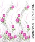 seamless tulip flower border on ...   Shutterstock . vector #1278710587
