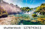 perfect summer view of powerful ... | Shutterstock . vector #1278743611