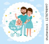 baby shower greeting card.... | Shutterstock .eps vector #1278798997