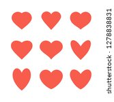 set of various red heart icons. ... | Shutterstock . vector #1278838831