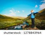 happy little boy enjoy travel... | Shutterstock . vector #1278843964