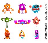 funny cartoon monster with... | Shutterstock .eps vector #1278879271