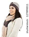 smiling girl in winter style ... | Shutterstock . vector #127890011