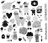 scandinavian kids doodles... | Shutterstock .eps vector #1278905797