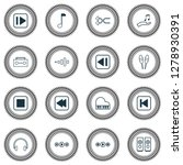 audio icons set with media...