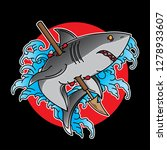 traditional shark tattoo flash  ... | Shutterstock .eps vector #1278933607