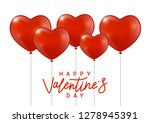 glossy red hearts balloons on... | Shutterstock .eps vector #1278945391