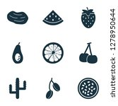 food icons set with marakuja ... | Shutterstock . vector #1278950644