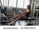 sexy sporty woman with exercise ... | Shutterstock . vector #1278955921