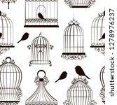 vintage bird cages pattern.... | Shutterstock . vector #1278976237